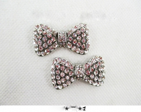 5 x SILVER 35MM RHINESTONE BOWS PERFECT HEADBANDS BOW CENTRE CLIPS CARD MAKING